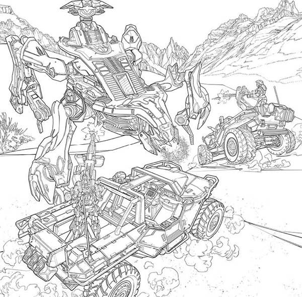 Halo Elite Coloring Pages - Get Coloring Pages | 589x600