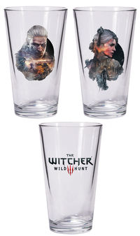 The Witcher 3: The Wild Hunt Pint Glass Set: Geralt and Ciri