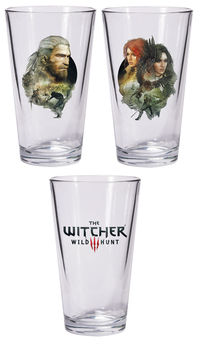 The Witcher 3: The Wild Hunt Pint Glass Set: Geralt and Triss with Yennefer