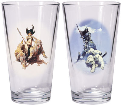 Frazetta ''Warriors & Women'' Boxed Pint Glass Set: Silver Warrior and the Huntress