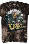 Marvel Cable Aim Black Acid-Wash Previews Exclusive T-Shirt MED