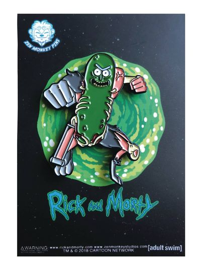 Rick and Morty Leaping Pickle Rick Pin