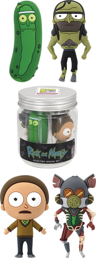 SDCC 2018 Rick & Morty 3D Foam Key Ring Pickle Jar Set